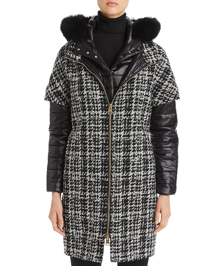 Herno - Fur-Trim Houndstooth Mixed Media Coat
