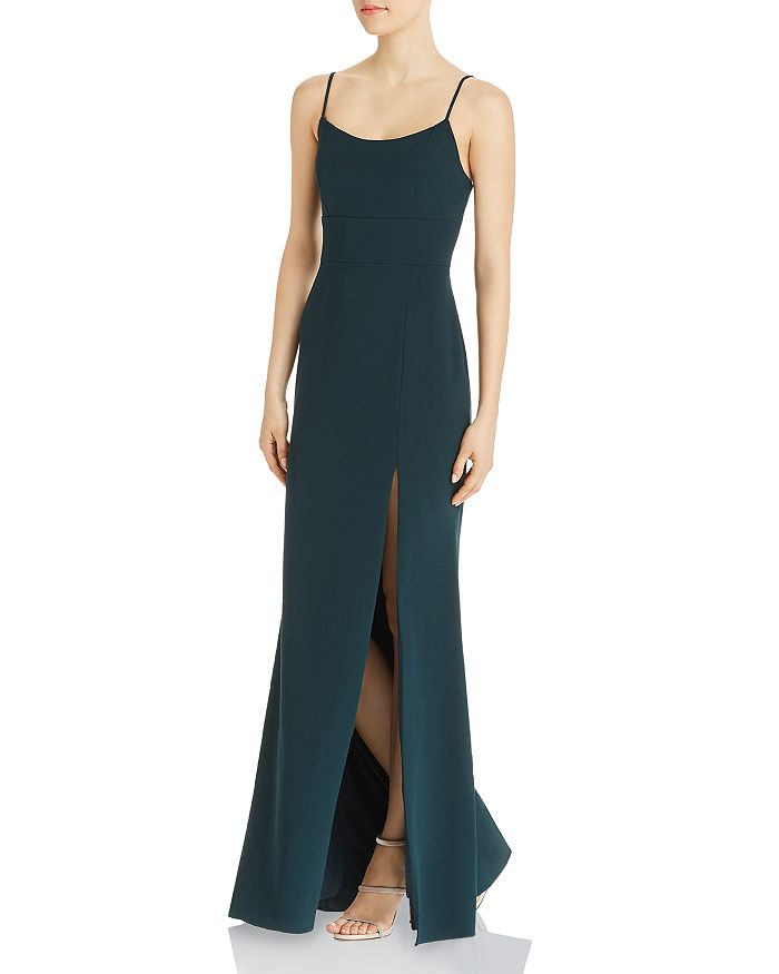 AQUA - Floor-Length Spaghetti-Strap Gown - 100% Exclusive