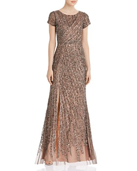 Adrianna Papell - Beaded Mesh Floor-Length Dress