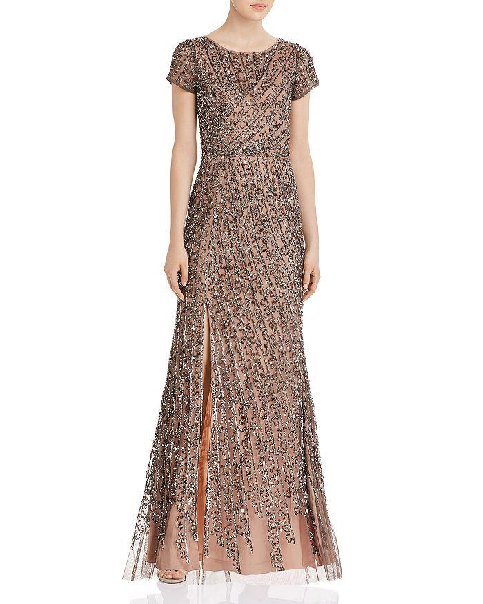 Adrianna Papell - Beaded Mesh Floor-Length Dress
