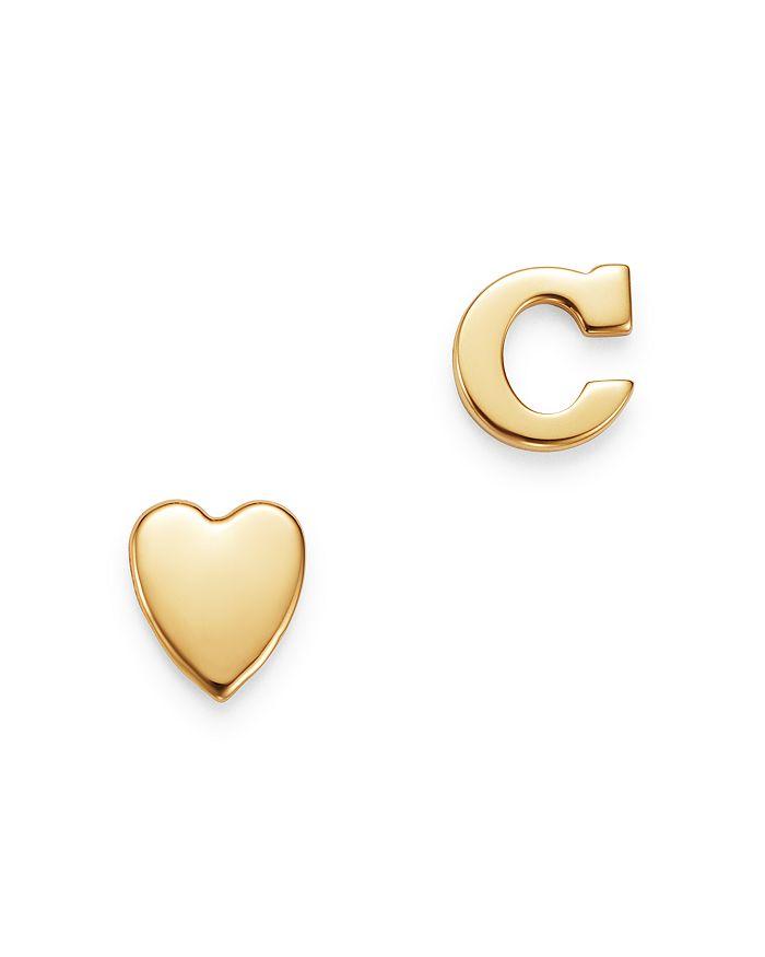 Zoe Lev 14k Yellow Gold Heart & Initial Stud Earrings In C/gold