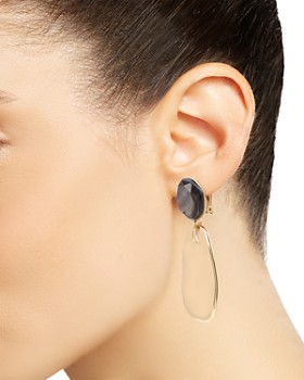 Robert Lee Morris Soho - Faceted Sculptural Disc Clip-On Drop Earrings