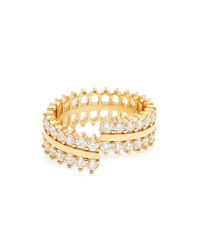 Nouvel Heritage - 18K Yellow Gold Vendome Lace Double Full Diamond Ring