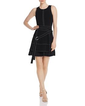 Cinq à Sept - Carver Belted Contrast-Stitch Mini Dress