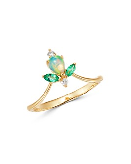 Bloomingdale's - Opal, Emerald & Diamond Ring in 14K Yellow Gold - 100% Exclusive