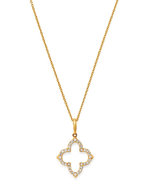 Bloomingdale's Diamond Clover Pendant Necklace in 14K Yellow Gold, 0.15 ct. t.w. - 100% Exclusive