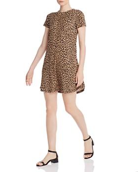 AQUA - Ribbed Leopard-Print Dress - 100% Exclusive