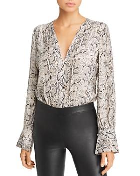Bardot - Snake-Print Wrap-Front Bodysuit - 100% Exclusive