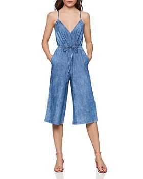 BCBGENERATION - Cutout Crossover Denim Jumpsuit