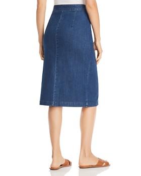 Vero Moda - Julie Asymmetric Button-Front Midi Skirt in Medium Blue Denim