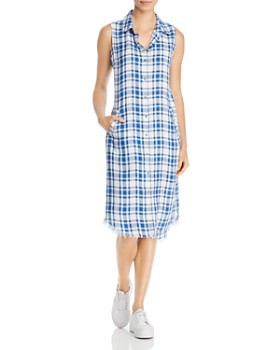 Billy T - Plaid Frayed-Hem Midi Dress