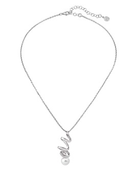 """Majorica - Simulated Pearl Spiral Pendant Necklace in Sterling Silver, 14"""""""