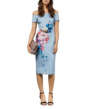 841b10f3 Ted Baker - Hailly Raspberry-Ripple-Print Off-the-Shoulder Dress ...