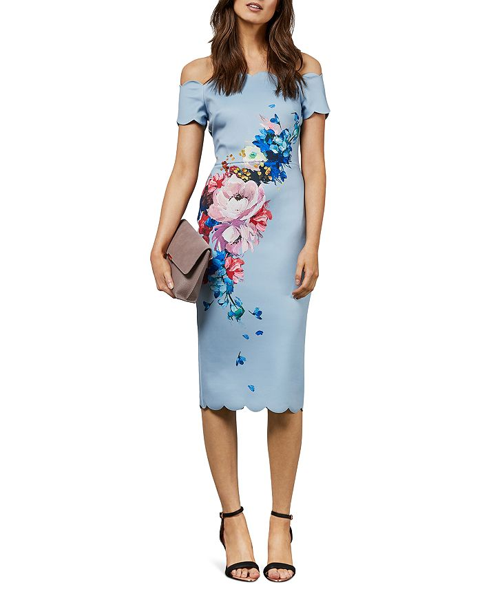Ted Baker - Hailly Raspberry-Ripple-Print Off-the-Shoulder Dress