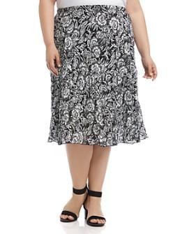 Karen Kane Plus - Tiered Botanical-Print Midi Skirt
