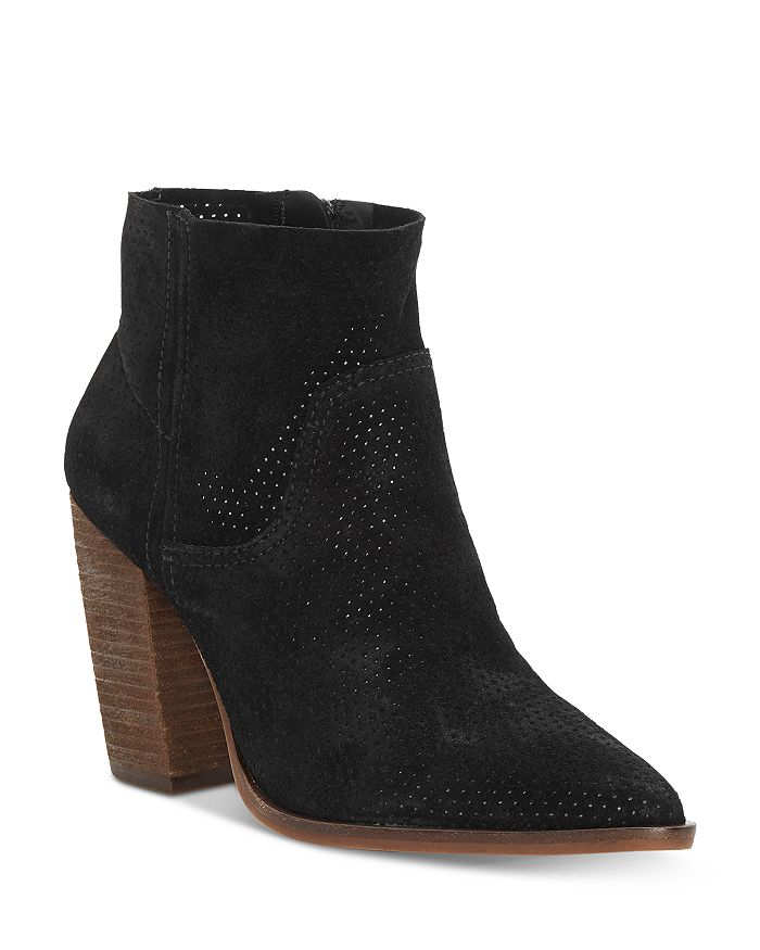 VINCE CAMUTO - Women's Cava Perforated Stacked Heel Booties
