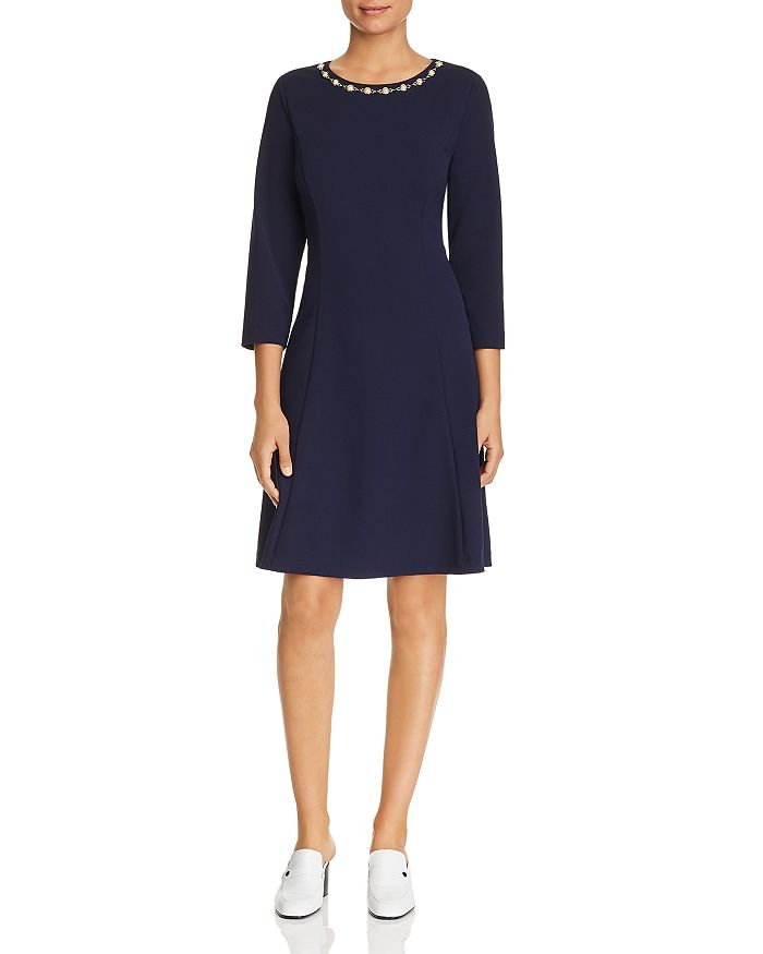 KARL LAGERFELD PARIS - Chain-Trimmed Knit Dress