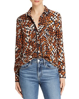 Equipment - Lemma Houndstooth Print Silk Blouse