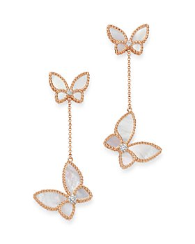 Roberto Coin - 18K Rose Gold Mother-of-Pearl & Diamond Butterfly Drop Earrings - 100% Exclusive