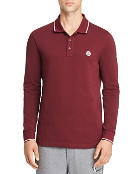 Moncler - Maglia Long-Sleeve Flag-Trimmed Regular Fit Polo Shirt