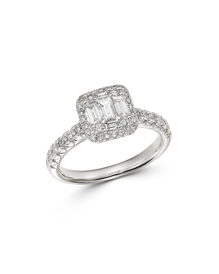 Bloomingdale S Diamond Mosaic Halo Ring In 18k White Gold 1 0 Ct