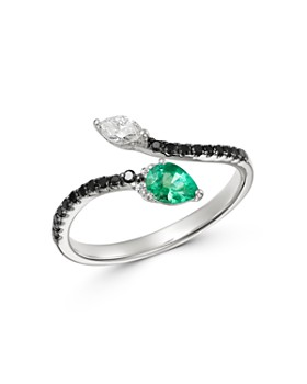 Bloomingdale's - Emerald, Black & White Diamond Ring in 18K White Gold - 100% Exclusive