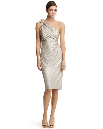 David Meister One-Shoulder Metallic Dress | Bloomingdale\'s
