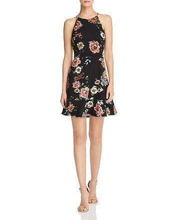 AQUA - Flounce-Hem Floral Dress - 100% Exclusive
