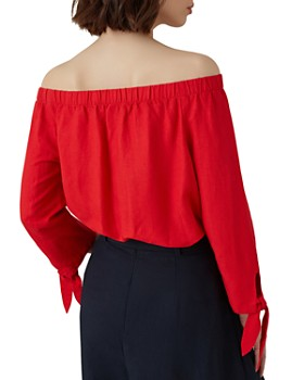 KAREN MILLEN - Off-the-Shoulder Tie-Cuff Top