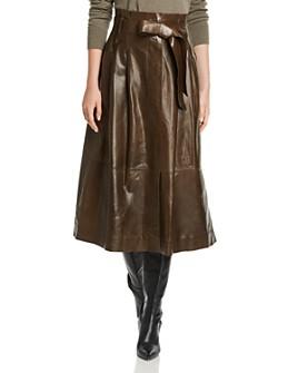 Lafayette 148 New York - Cass Leather Midi Skirt