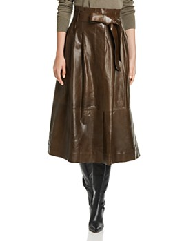 Lafayette 148 New York - Cass Leather Midi Skirt