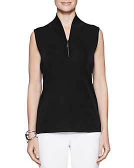 Misook - Sleeveless Zip-Neck Knit Top