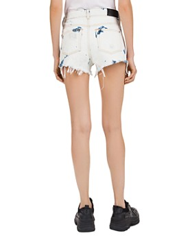 The Kooples - High-Rise Frayed & Destroyed Denim Mini Shorts in Blue Washed