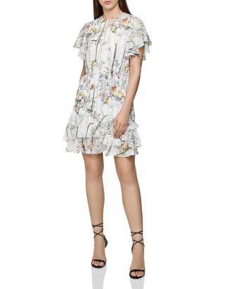 Juno Flounced Floral Dress by Reiss