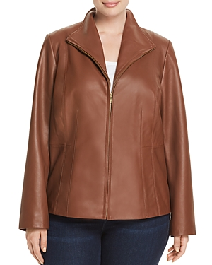 Cole Haan Plus Leather Zip Jacket