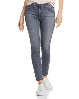 AG - Prima Mid-Rise Skinny Ankle Jeans in Gray Light