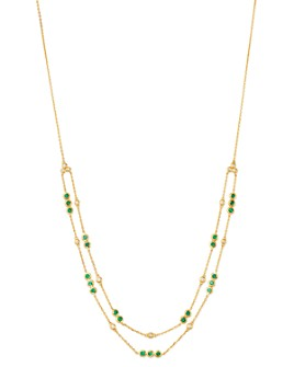 """Bloomingdale's - Emerald & Diamond Double Layer Necklace in 14K Yellow Gold, 18"""" - 100% Exclusive"""