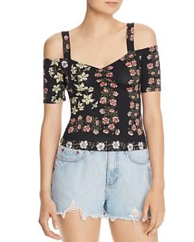 GUESS - Jada Floral-Print Cold-Shoulder Top