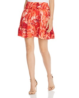 GUESS - Rona Smocked Floral-Print Mini Skirt