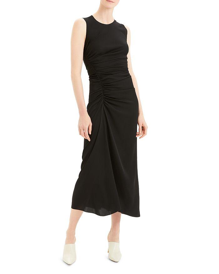 Theory - Sleeveless Ruched Silk Blend Midi Dress