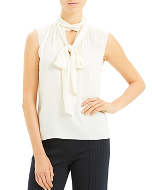 Theory Sleeveless Tie-Neck Silk Blend Top