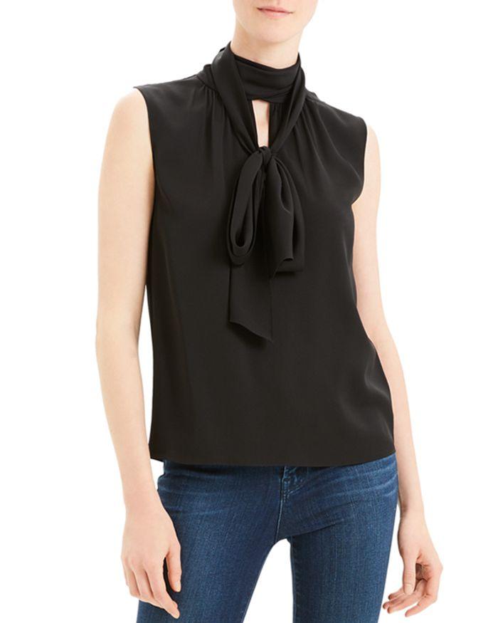 Theory - Sleeveless Tie-Neck Silk Blend Top