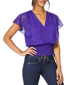 Ramy Brook - Lynette Smocked Silk Blend Top