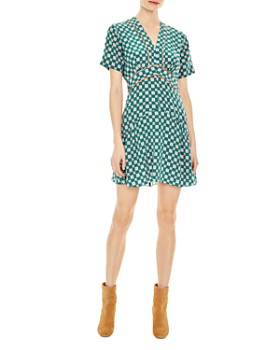 Sandro - Dalli Geo-Print Silk Mini Dress