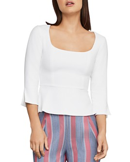 BCBGMAXAZRIA - Split-Back Peplum Top