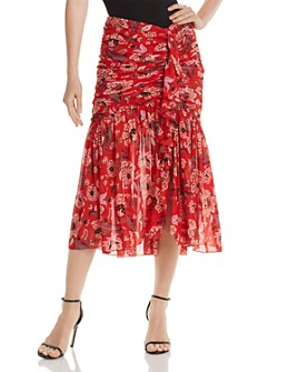 Cinq à Sept - Kathleen Ruched Printed Midi Skirt
