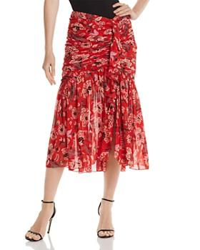 Cinq à Sept - Kathleen Ruched Printed Midi Skirt
