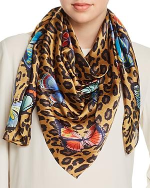 Butterfly Leopard Print Silk Scarf