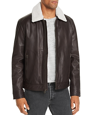 Cole Haan Sherpa Trimmed Leather Jacket