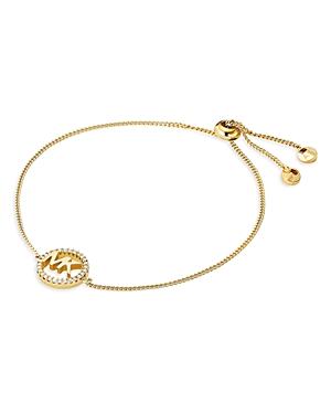 Michael Kors Pave Logo Slider Bracelet in 14K Gold-Plated Sterling Silver, 14k Rose Gold-Plated Ster